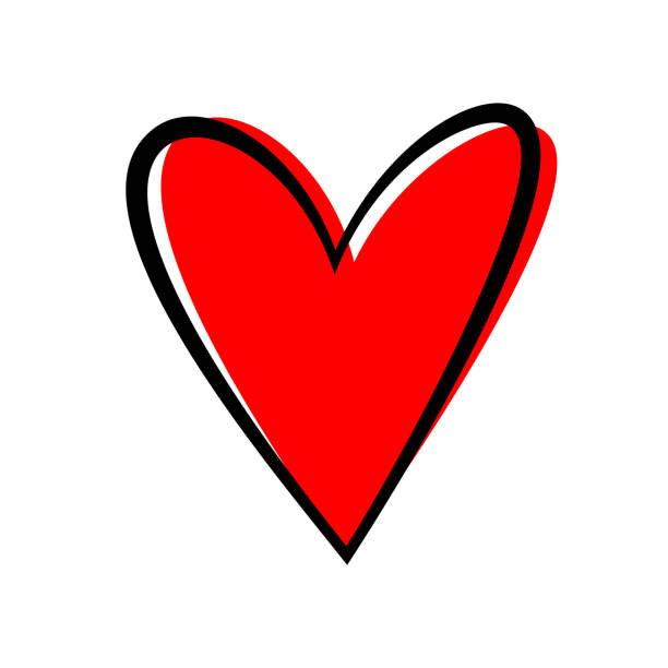 Hand drawn heart isolated. Design element for love concept. Doodle sketch red heart shape. vector art illustration
