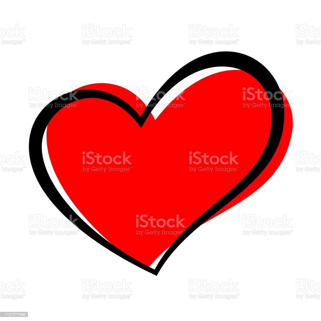 Handgezeichnete Herz isoliert. Gestaltungselement für Liebe Konzept. Rotes Herz Skizzenform Doodle. - Lizenzfrei ClipArt Vektorgrafik