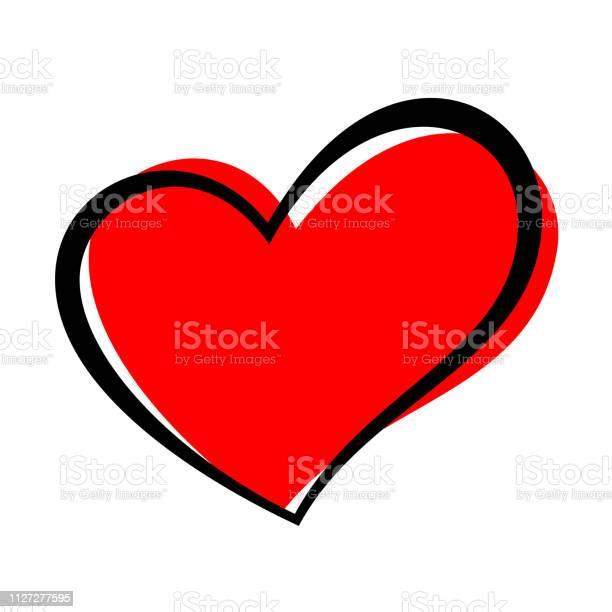 Handgezeichnete Herz Isoliert Gestaltungselement Für Liebe Konzept Rotes Herz Skizzenform Doodle Stock Vektor Art und mehr Bilder von ClipArt