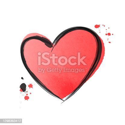 Hand drawn heart isolated on white. Watercolor or ink design element for love concept. Doodle sketch red heart shape with black stroke.