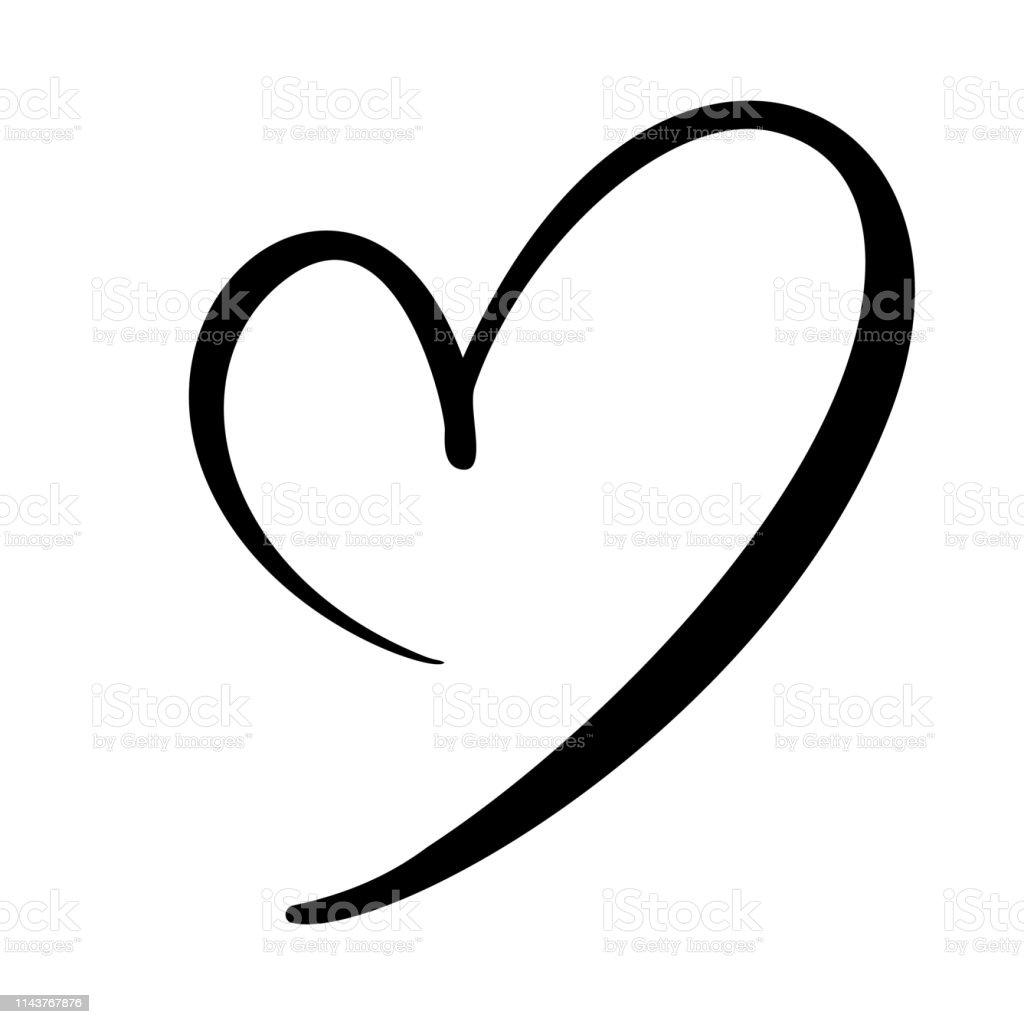 Handgezeichnetes Herz-Liebeszeichen. Romantische Kalligrafie-Vektordarstellung. Concepn Symbol Symbol Symbol für T-Shirt, Grußkarte, Poster Hochzeit. Design flach Element des Valentinstag - Lizenzfrei Abstrakt Vektorgrafik