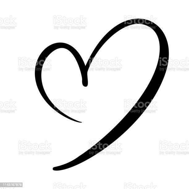 Hand Drawn Heart Love Sign Romantic Calligraphy Vector Illustration Concepn Icon Symbol For Tshirt Greeting Card Poster Wedding Design Flat Element Of Valentine Day - Arte vetorial de stock e mais imagens de Abstrato
