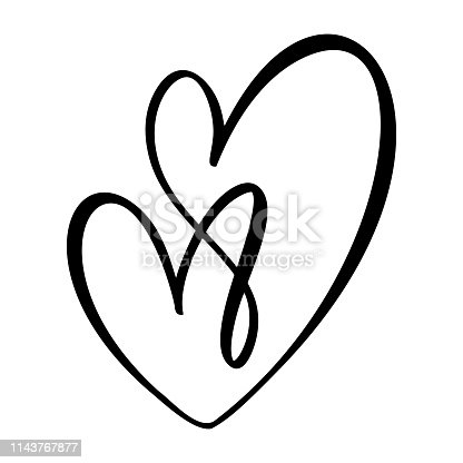 Hand drawn Heart love sign. Romantic calligraphy vector illustration. Concepn icon symbol for t-shirt, greeting card, poster wedding. Design flat element of valentine day.