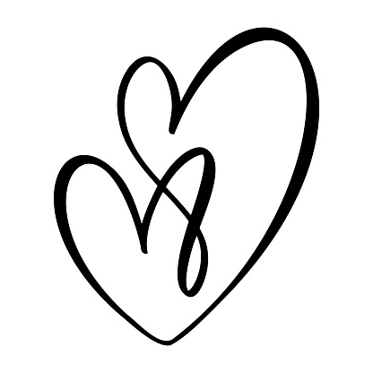 Hand drawn Heart love sign. Romantic calligraphy vector illustration. Concepn icon symbol for t-shirt, greeting card, poster wedding. Design flat element of valentine day clipart