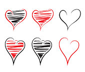 Hand drawn heart shape icons isolated on white background. Vector illustration. EPS10