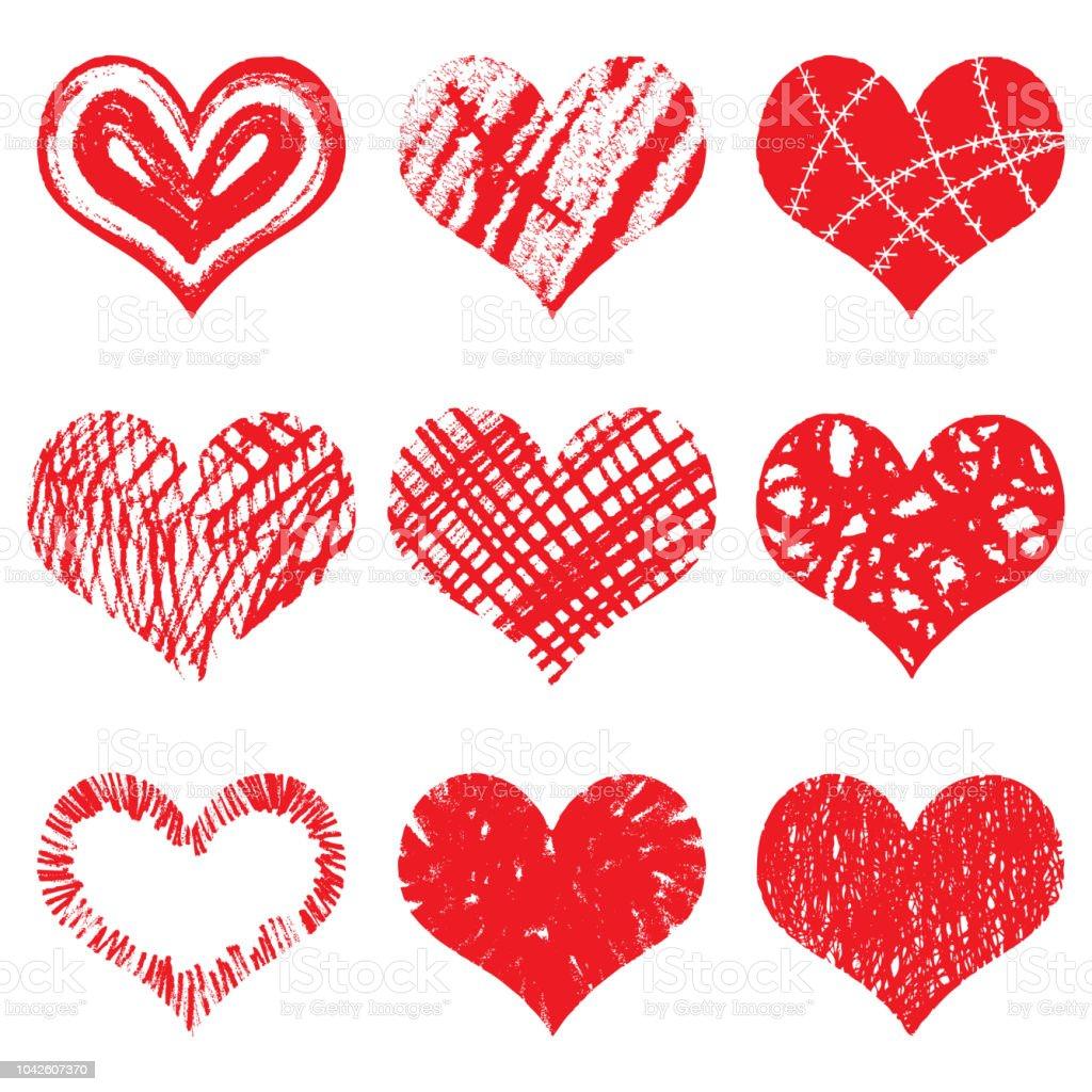 Handgezeichnete Herzformen Symbole In Roter Farbe Fur Valentinstag