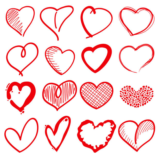 hand drawn heart shapes, romance love doodle vector signs for - heart stock illustrations, clip art, cartoons, & icons