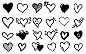 Hand drawn hearts. Rough doodle drawn heart valentines and symbols.