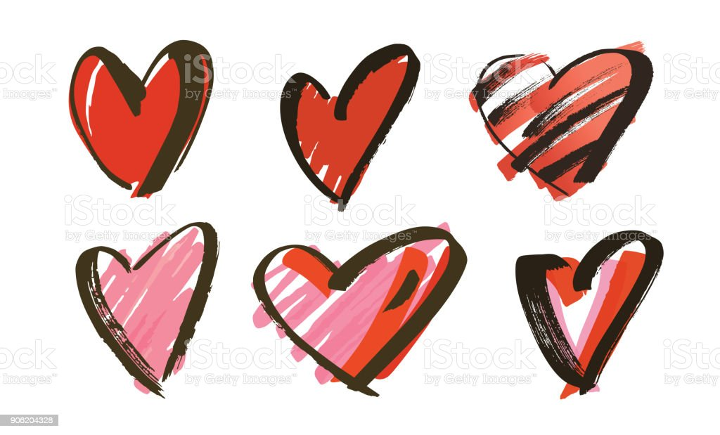 hand drawn hearts collection royalty-free hand drawn hearts collection stock illustration - download image now