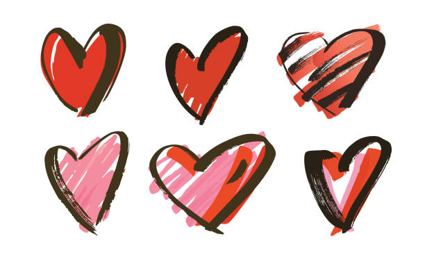 hand drawn hearts collection vector art illustration