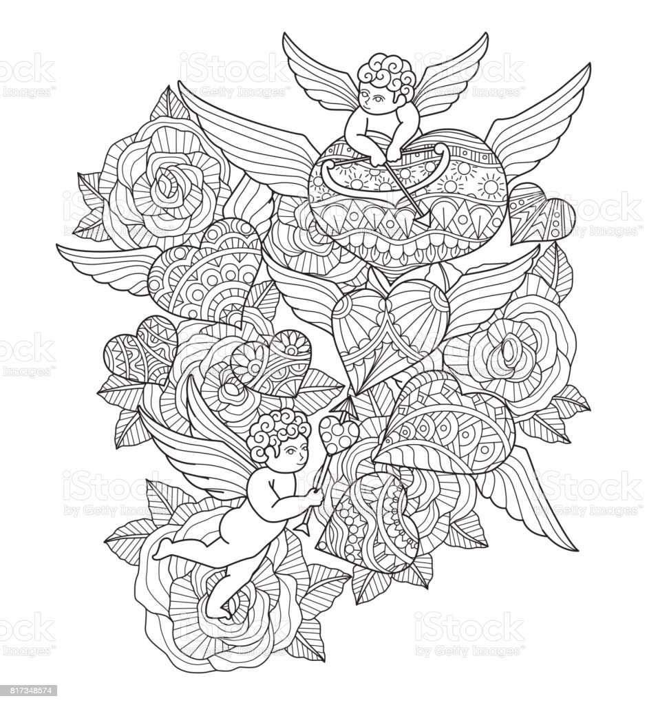 Hand Drawn Hearts Cupids And Roses For Adult Coloring Page Royalty Free