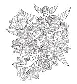 Hand drawn Hearts, cupids and roses for adult coloring page.
