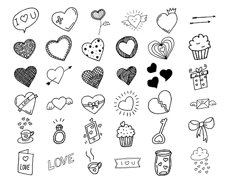 Hand drawn hearts doodle design elements, isolated hearts collection, vector illustration