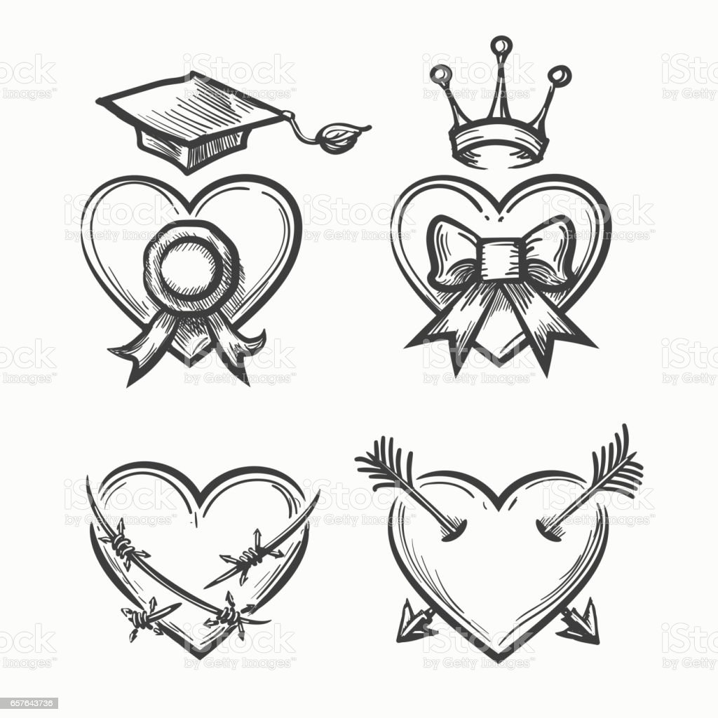 Hand drawn hearts in tattoo sketch style heart with crown and hand drawn hearts in tattoo sketch style heart with crown and arrow bow graduation open comp buycottarizona Choice Image