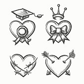 Hand drawn hearts in tattoo sketch style. Heart with crown and arrow, bow graduation cup vector illustration