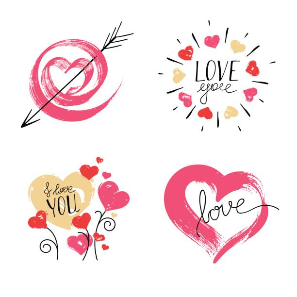 Hand Drawn Hearts on White Background. vector art illustration