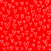 Many hand drawn hearts on red background. Simple abstract design on square composition. This picture is designed to make a smooth seamless pattern if you duplicate it vertically and horizontally to cover more space.