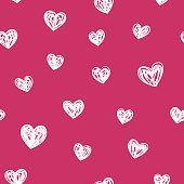 Scribble Drawn Seamless Heart Shape Valentine's Love Background white drawn grunge line background.