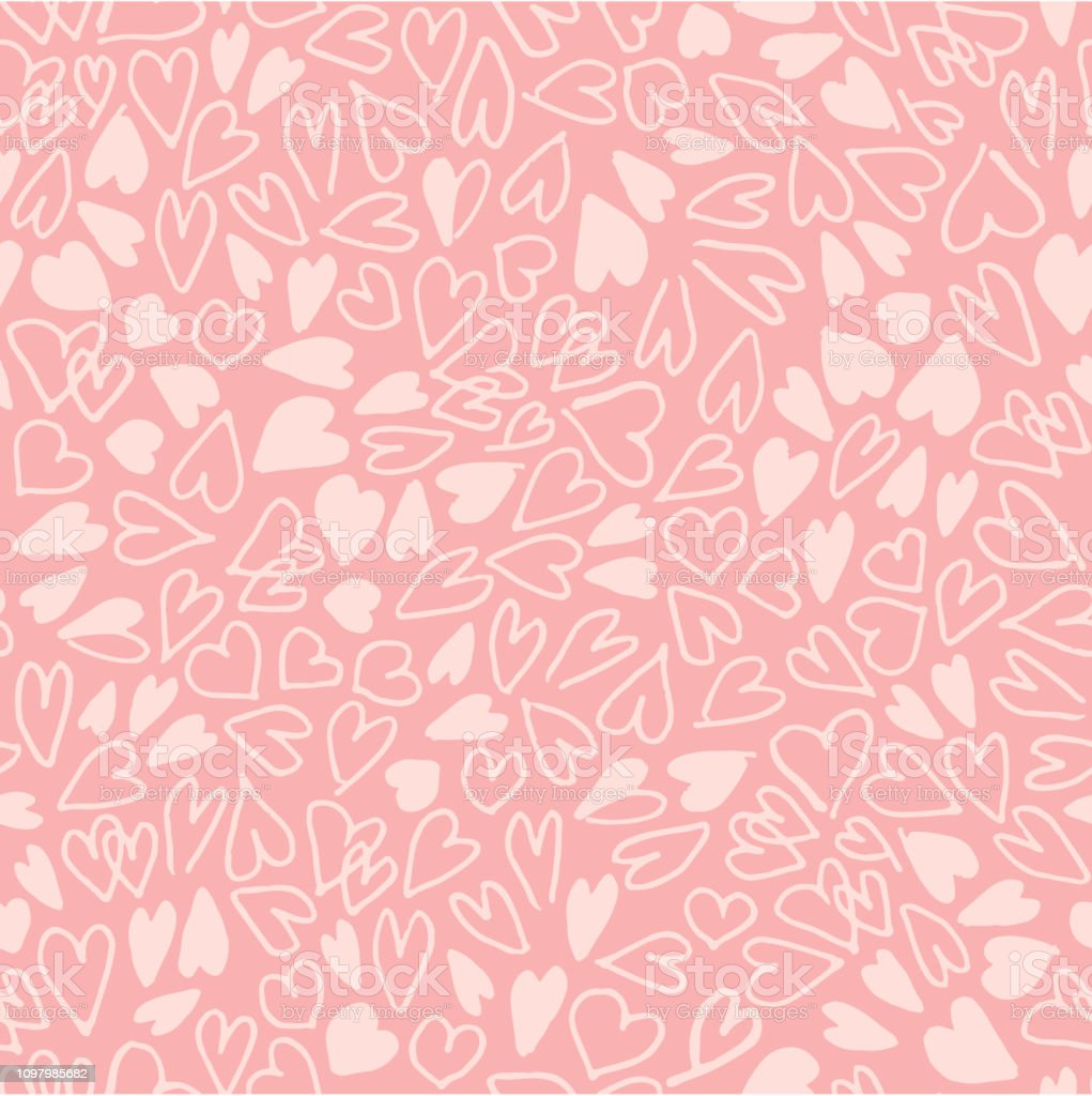 Hand drawn hearts seamless pattern. Simple chaotic light pink heart shapes on pink background. Flat vector texture. royalty-free hand drawn hearts seamless pattern simple chaotic light pink heart shapes on pink background flat vector texture stock illustration - download image now