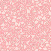 istock Hand drawn hearts seamless pattern. Simple chaotic light pink heart shapes on pink background. Flat vector texture. 1097985682