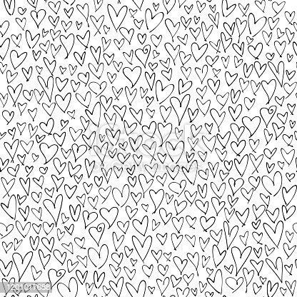Many hand drawn hearts on white background. Simple chaotic abstract design on square composition. This picture is designed to make a smooth seamless pattern if you duplicate it vertically and horizontally to cover more space.