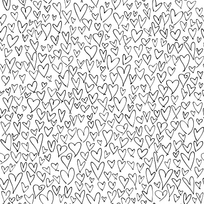 Hand drawn hearts seamless pattern. Valentine's, Mother's day, birthday card, wallpaper or gift wrap design.