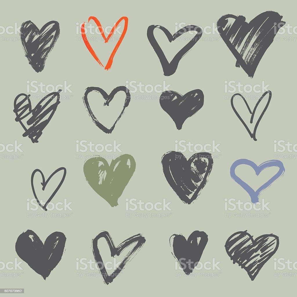 hand drawn hearts set vector art illustration