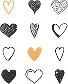 Set of hand drawn hearts for Valentine's day, wedding and other events, vector eps10 illustration