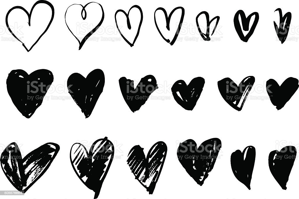 Hand drawn hearts vector art illustration