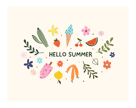 Hand drawn hello summer flower, fruits, ice cream and leaves isolated on white background. Cute hygge scandinavian template for greeting card, t shirt design. Vector illustration in flat cartoon style
