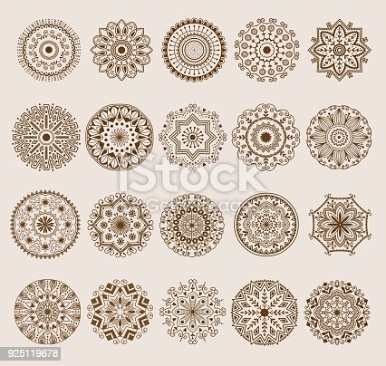 istock Hand drawn henna abstract mandala pattern flowers and paisley doodle coloring page. Henna decorative mandala pattern ethnic flower decoration mandala pattern ornament floral indian design 925119678