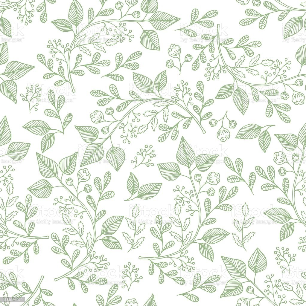 Hand drawn herb pattern vector art illustration