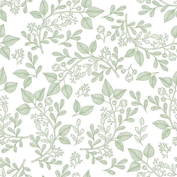 hand drawn herb pattern - 葉のテクスチャ点のイラスト素材/クリップアート素材/マンガ素材/アイコン素材
