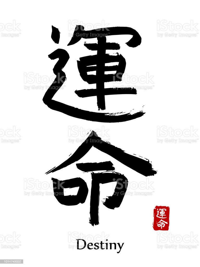Handgezeichnete Hieroglyphe übersetzen Schicksal Vektor Japanische