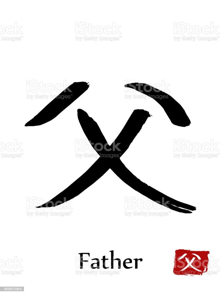 Hand Drawn Hieroglyph Translate Father Vector Japanese Black Symbol