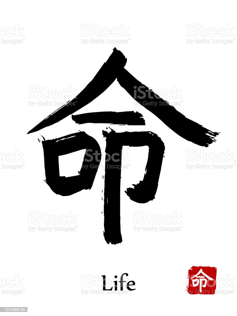 Hand Drawn Hieroglyph Translate Life Vector Japanese Black Symbol On