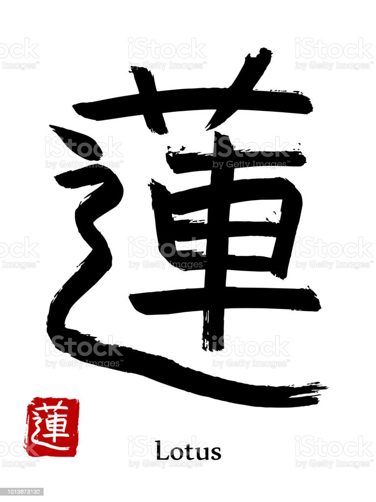 Hand Drawn Hieroglyph Translate Lotus Flower Vector Japanese Black