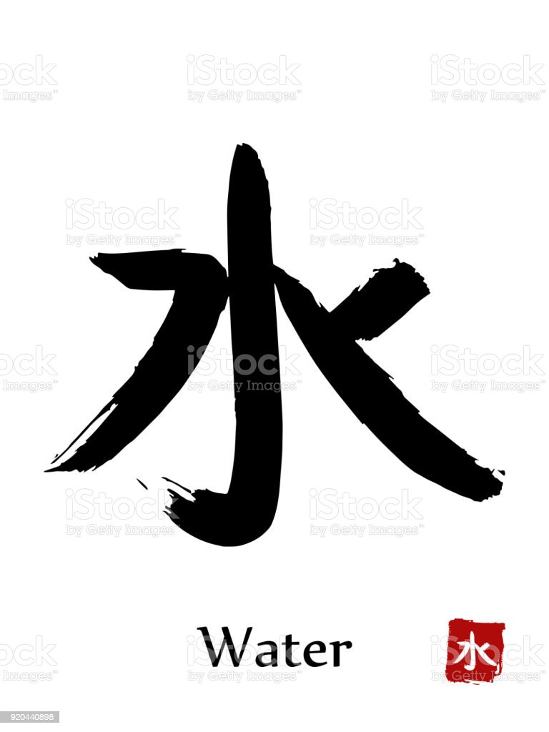 Hand drawn hieroglyph translate water vector japanese black symbol hand drawn hieroglyph translate water vector japanese black symbol on white background with text buycottarizona Images