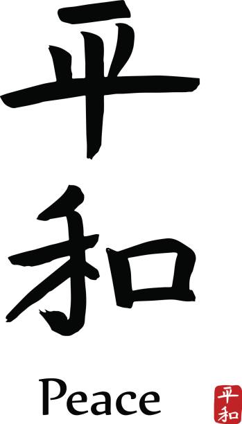 Royalty Free Kanji Japanese Script Symbols Of Peace Japan Clip Art