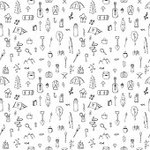 Hand drawn hike seamless pattern. Doodle camping elements. Picnic, hiking, travel and camping. Vector illustration