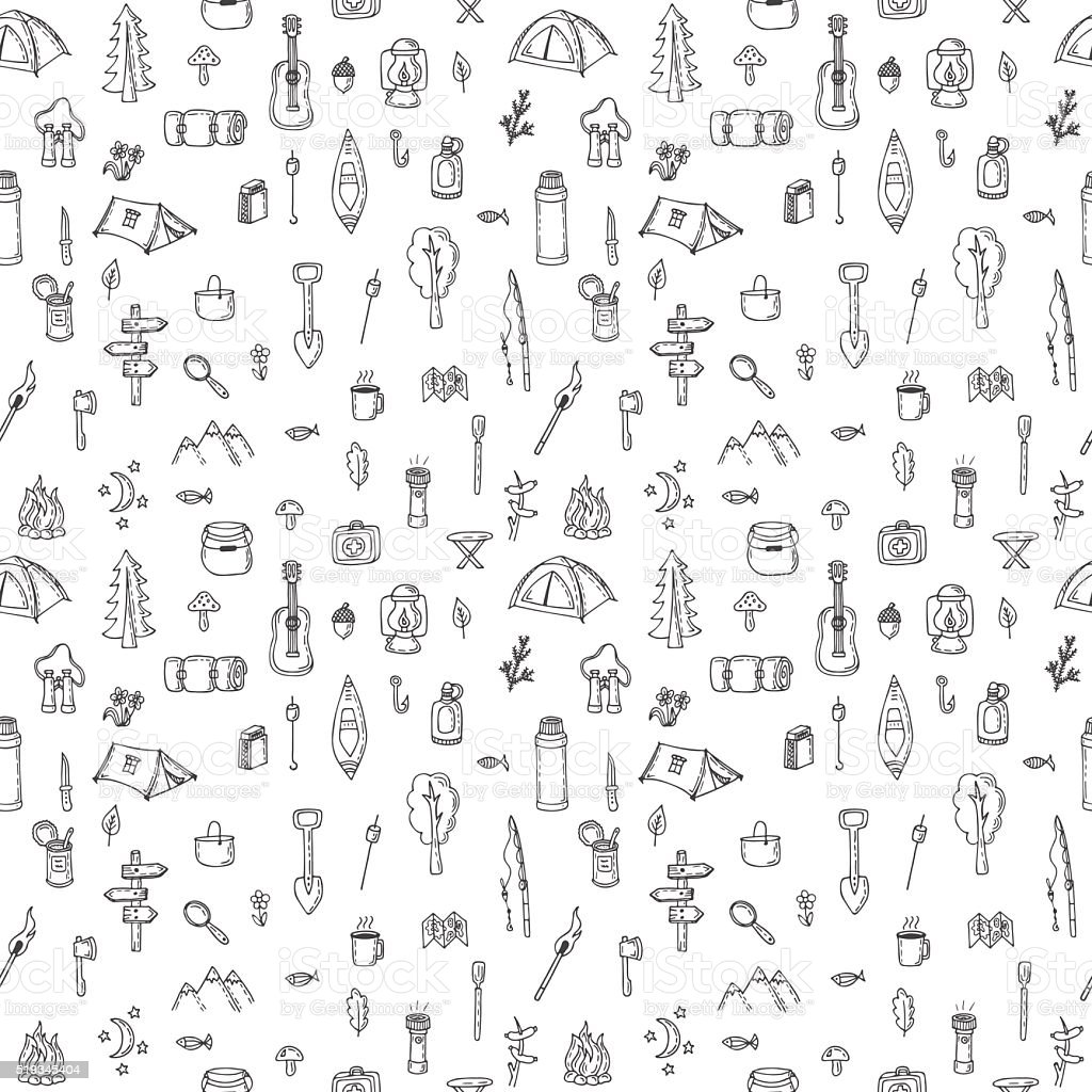 Hand drawn hike seamless pattern. Doodle camping elements vector art illustration