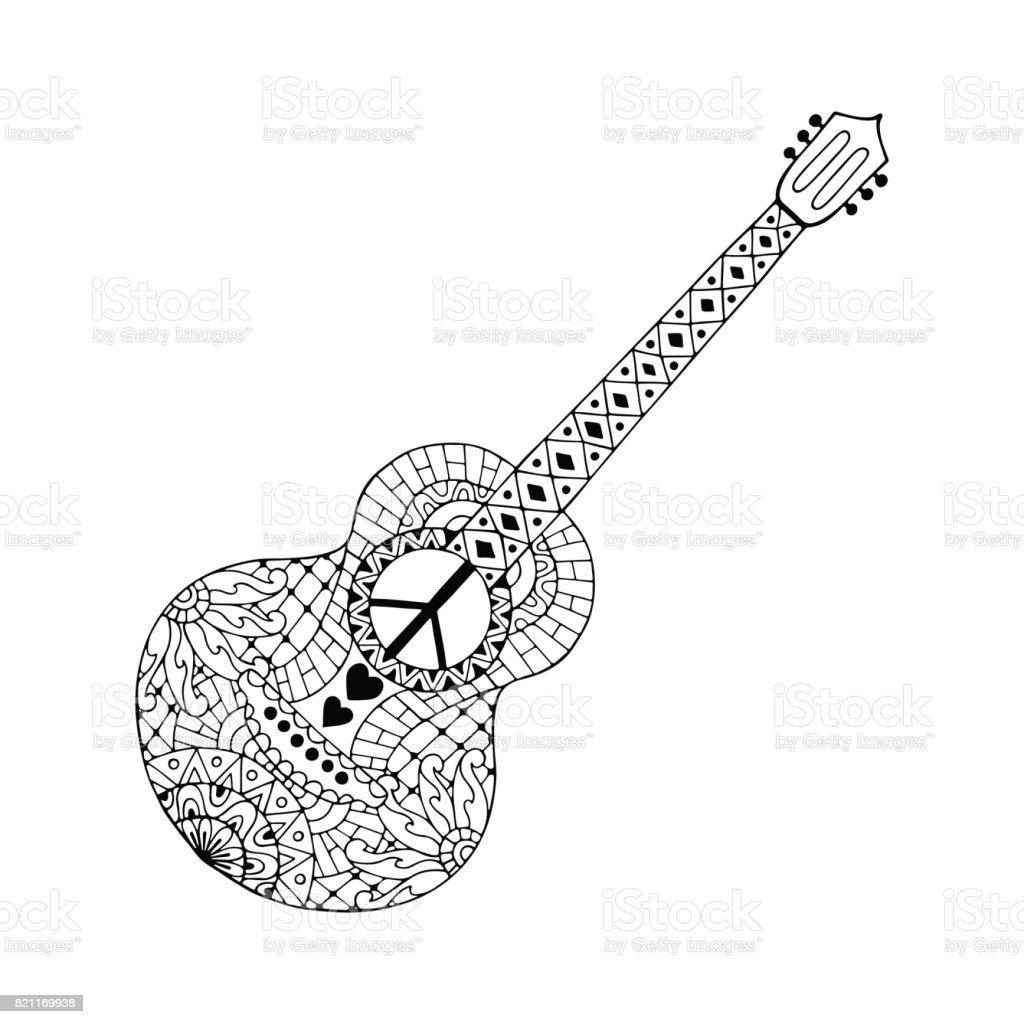 Elle Cizilmis Hippi Akustik Gitar Icin Anti Stres Boyama Sayfasi
