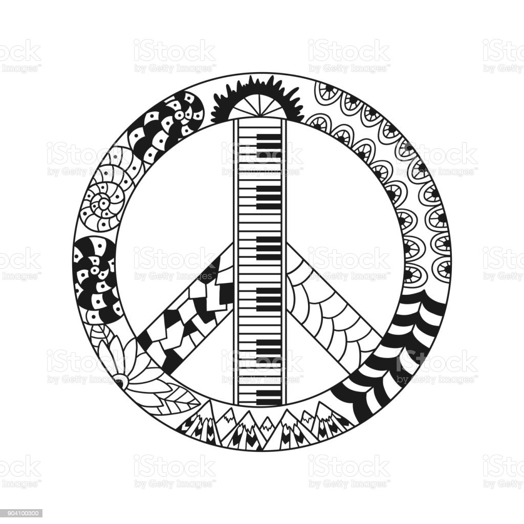 Hand drawn hippie peace symbol for anti stress colouring page. vector art illustration
