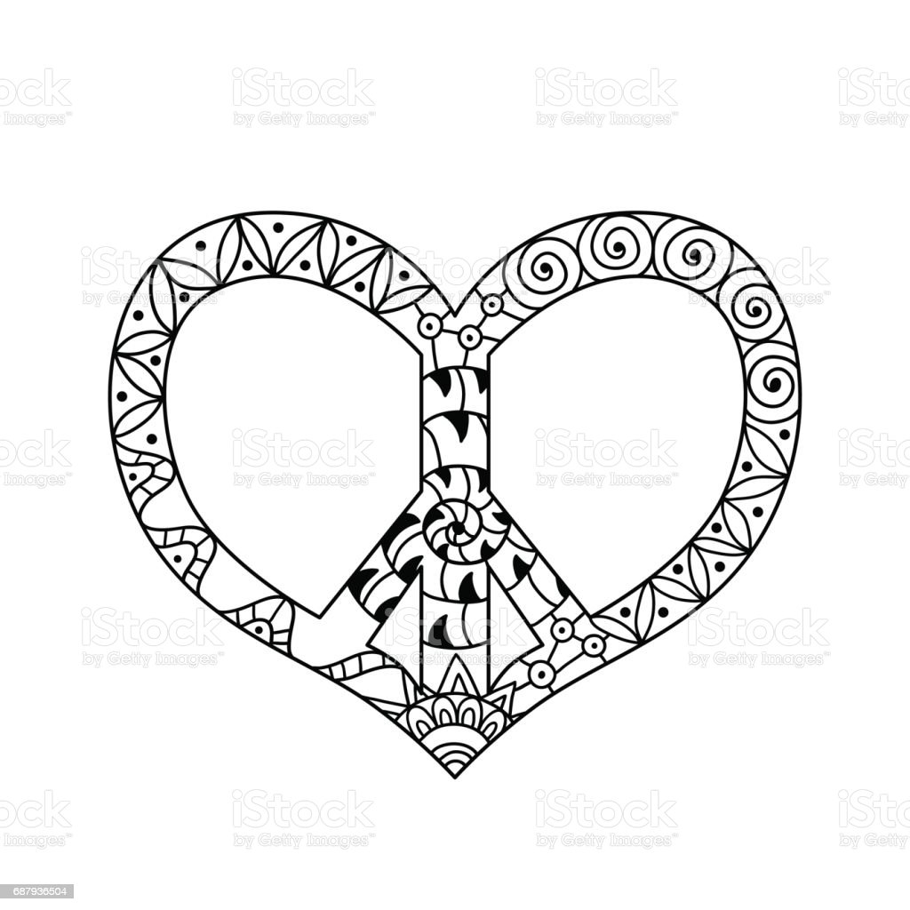Hand Drawn Hippie Peace Symbol In Heart Shape For Anti Stress ...
