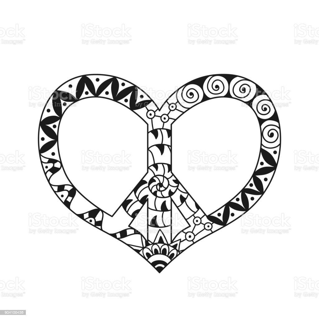 Hand drawn hippie peace symbol in heart shape for anti stress colouring page. vector art illustration