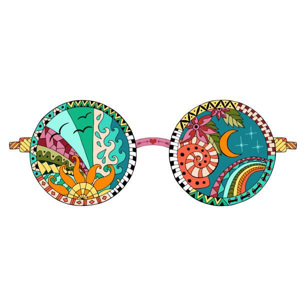 hand drawn hippie sun glasses. - hippie fashion stock illustrations, clip art, cartoons, & icons