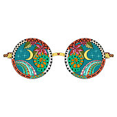 Hand drawn hippie sun glasses for anti stress coloring page. Pattern for coloring book. Made by trace from sketch. Colorful variant. Hippie collection
