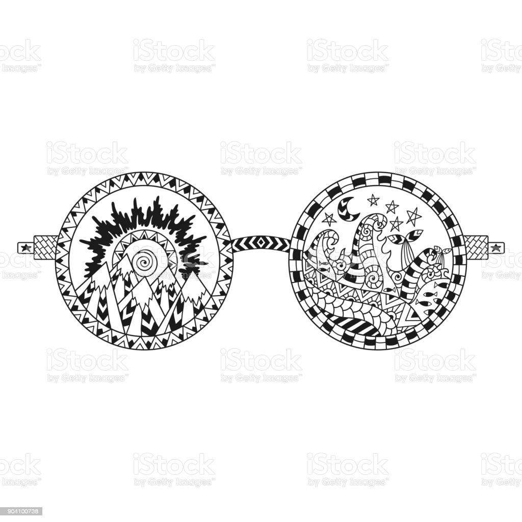 Hand Gezeichnet Hippie Sonnenbrille Für Antistressfärbungseite Stock ...
