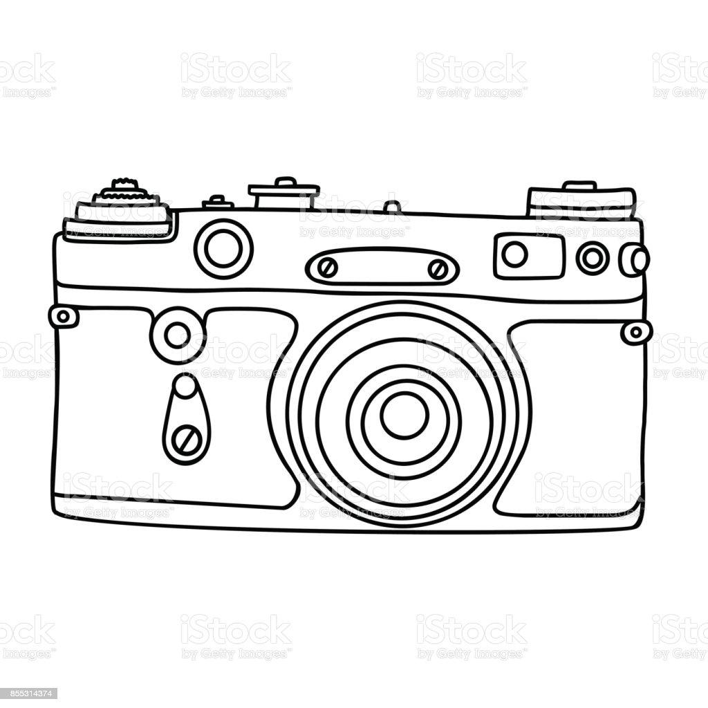 Elle Cizilmis Hipster Eski Fotograf Makinesi Vintage Kamera
