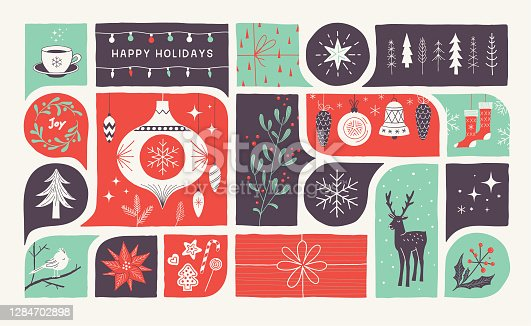 Retro holiday greeting card with hand drawn Christmas decoration.  Editable vectors on layers.